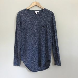 Three Feathers Tunic Top Long Sleeve Blue Gray A5